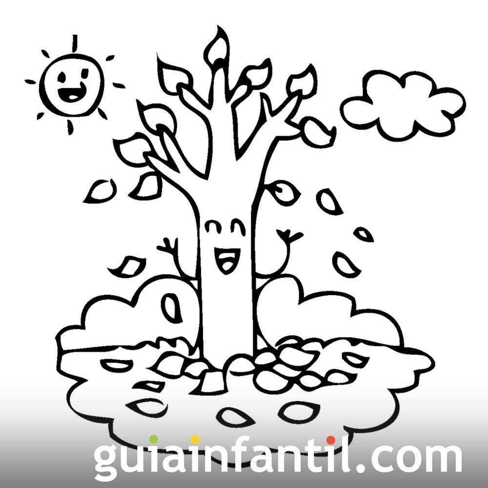 Fantástico árboles De Otoño Para Colorear Composición - Dibujos Para ...