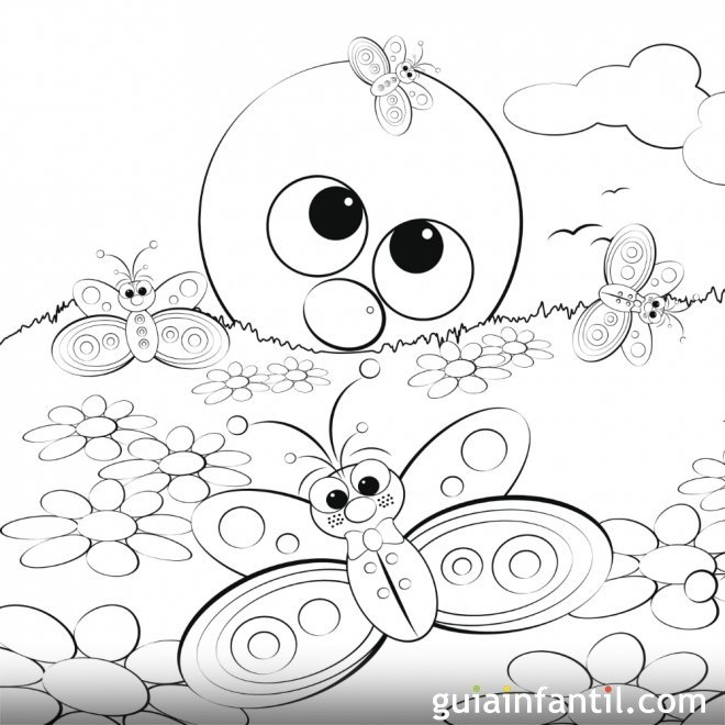 Dibujo para colorear de un sol y mariposas en primavera