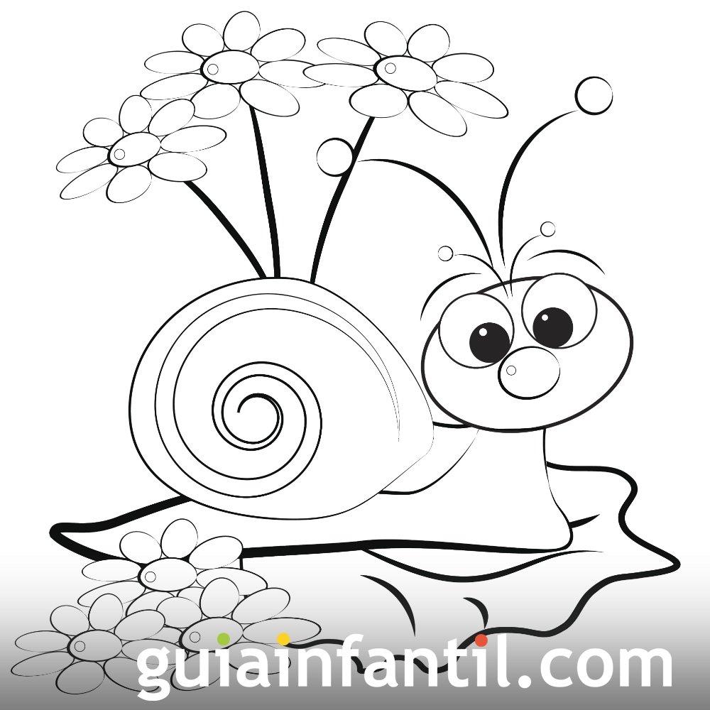 Dibujo de un caracol en primavera para colorear
