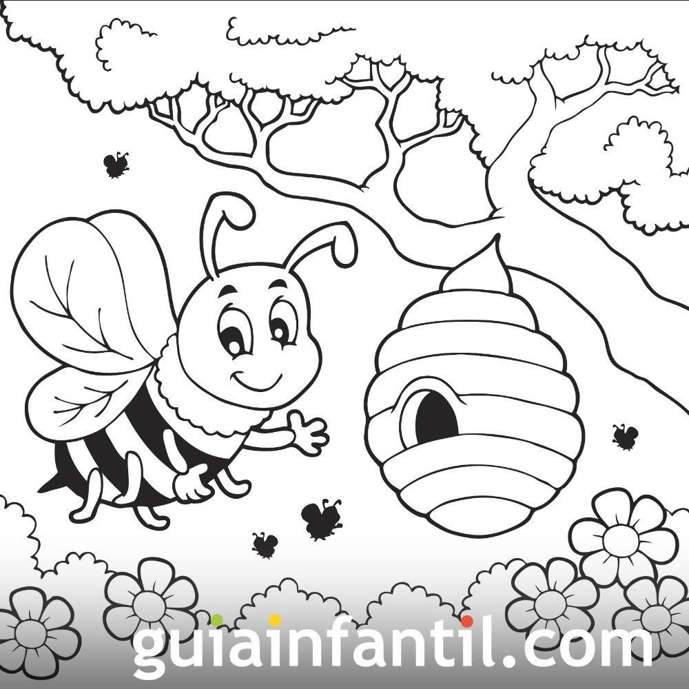 Dibujo para colorear de una abeja y un panal en primavera