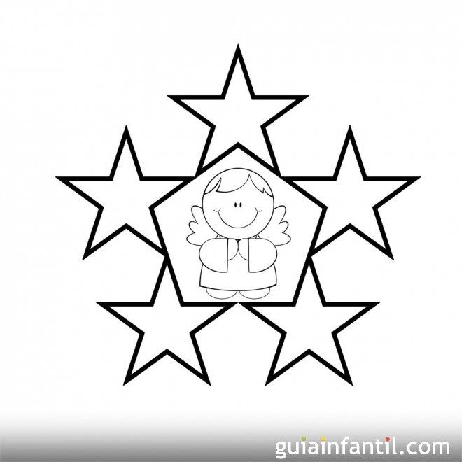 Dibujo de estrellas y ángel para pintar