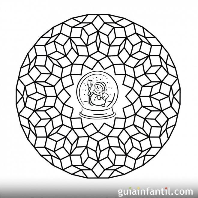 Dibujos geométricos y muñeco de nieve para pintar