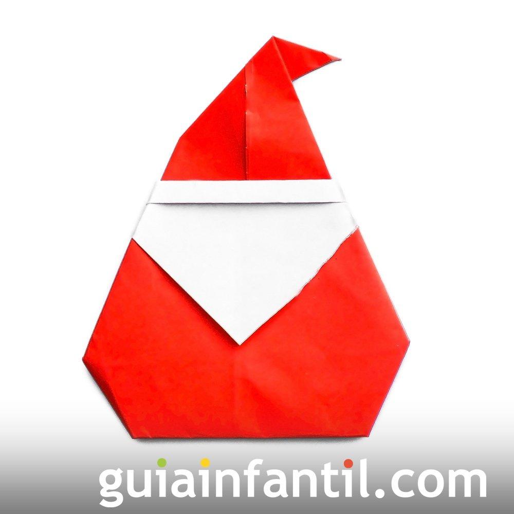 Papa Noel De Origami Manualidades Con Papel - Origami-papa-noel