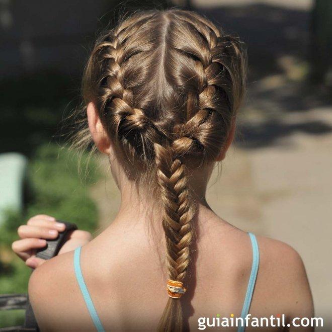 Peinados de dos trenzas para ninas