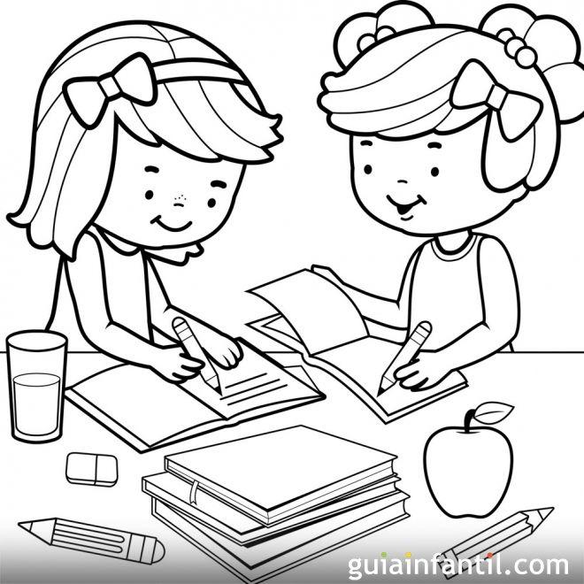 Dibujos para colorear. Derecho del niño a la educación