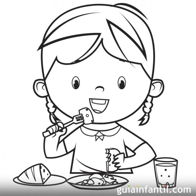 Dibujos para colorear. Derecho de los niños a la alimentación