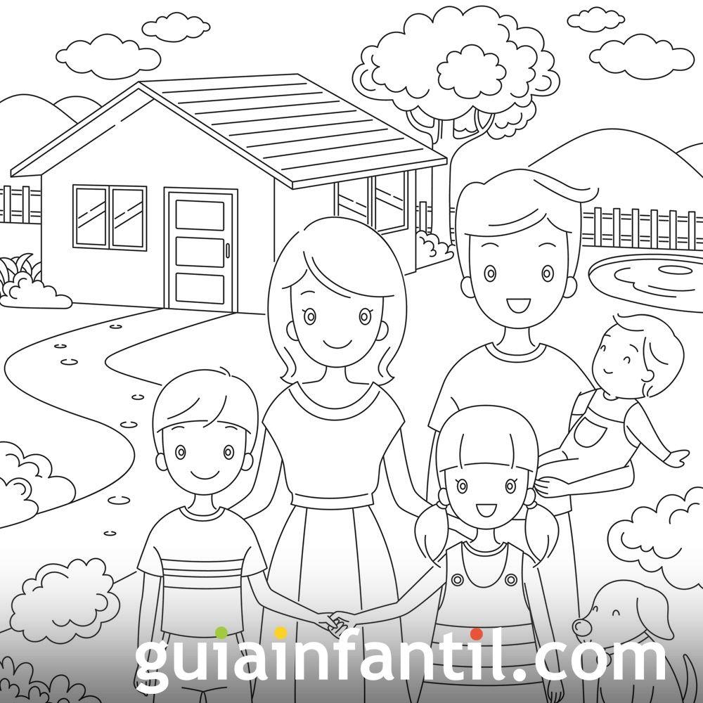 Dibujos para colorear. Derecho de los niños a tener una vivienda