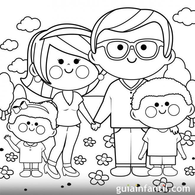 Dibujos para colorear. Derecho del niño a tener una familia
