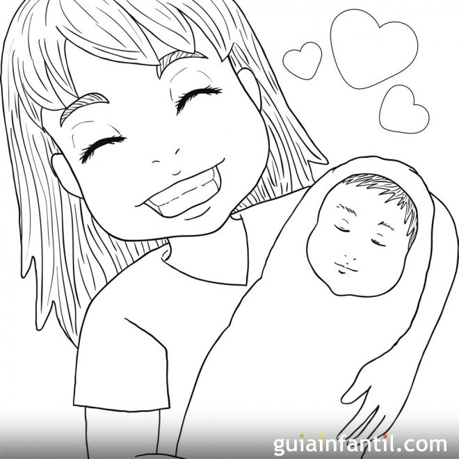 Dibujo para colorear. Derecho de los niños a ser amado