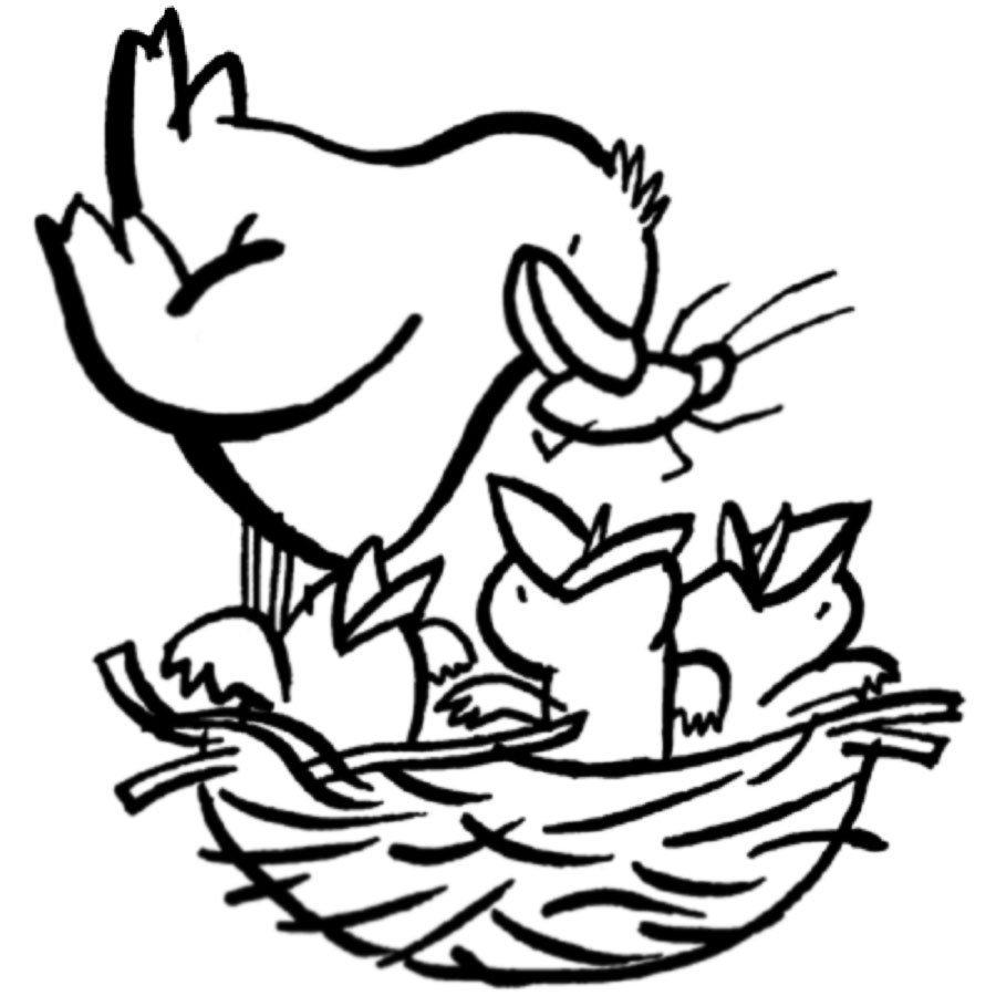 Dibujo infantil de pájaro con sus crías