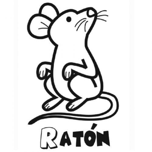 Dibujo de ratoncito en el bosque para pintar