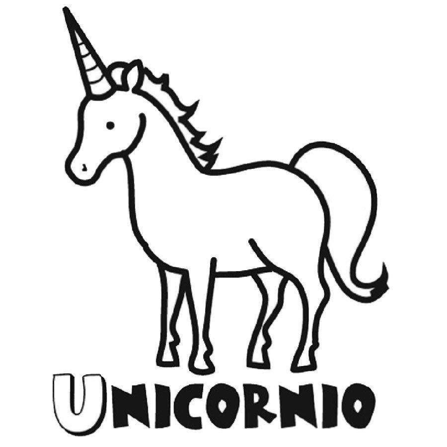 Dibujo infantil de unicornio para pintar