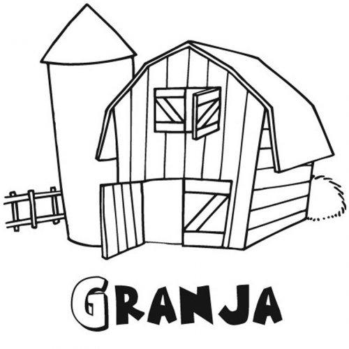 Dibujo para pintar de una granja