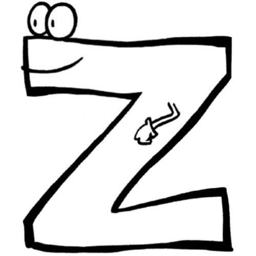 Dibujo para pintar de la letra Z
