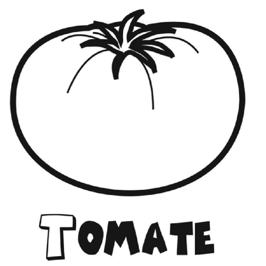 Dibujo con un tomate para imprimir y colorear