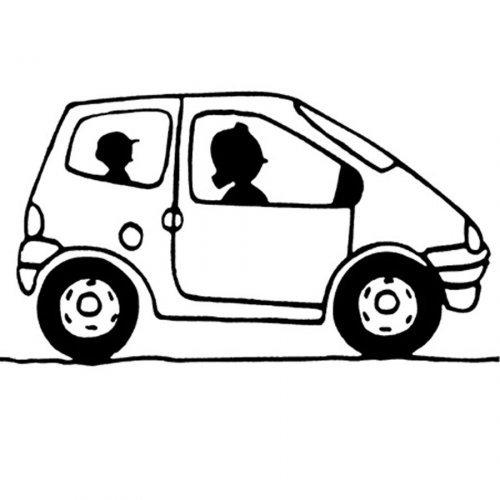 Dibujo con un coche para imprimir y colorear