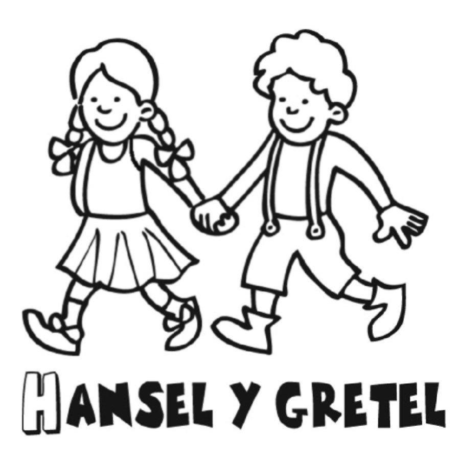 Dibujo para colorear a hansel y Gretel