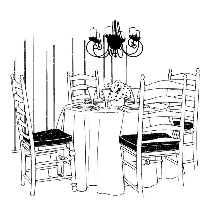 Dibujo De Una Mesa De Comedor Para Pintar