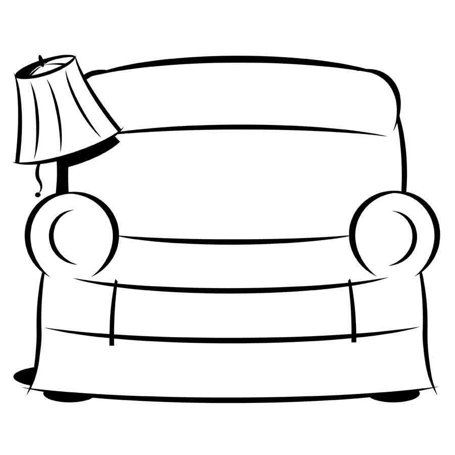 Dibujo para imprimir y colorear de un sofá