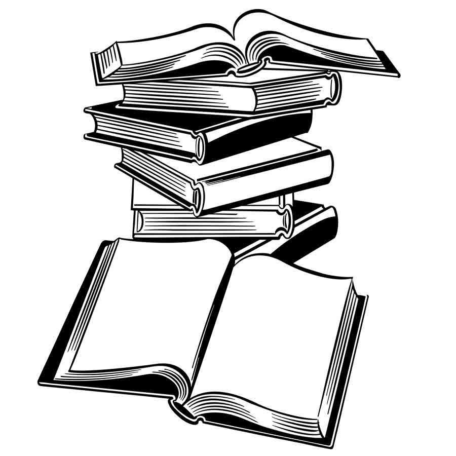 Dibujo De Unos Libros Para Imprimir Y Colorear