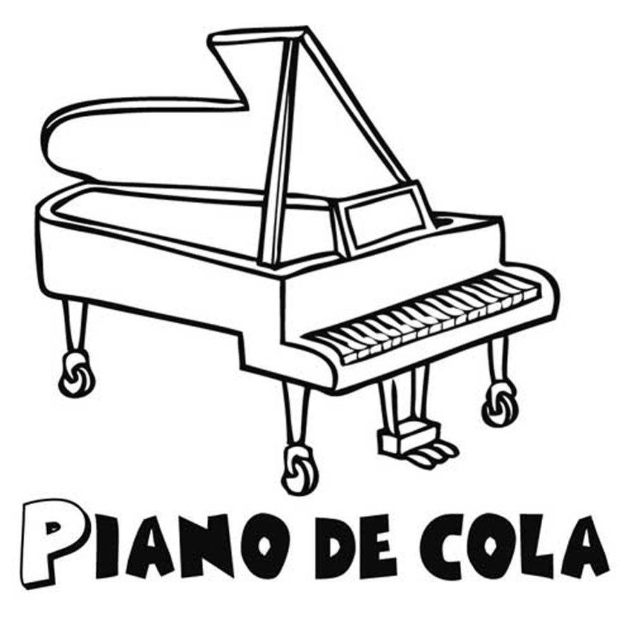 Dibujo de un piano de cola para pintar