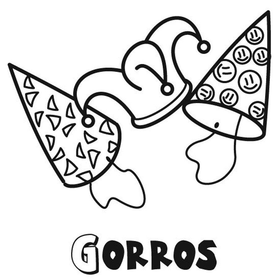 Dibujo De Gorros De Cumpleaños Para Colorear