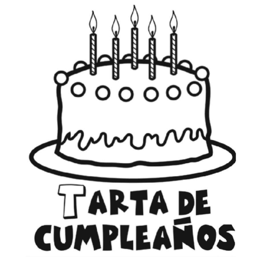 Dibujo para imprimir y pintar de una tarta de cumpleaños
