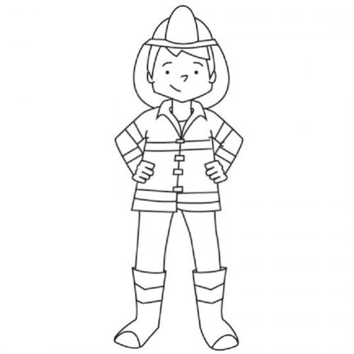 Dibujo para colorear de un bombero  Dibujos para colorear de