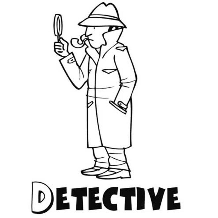 Dibujo de detective para imprimir y pintar