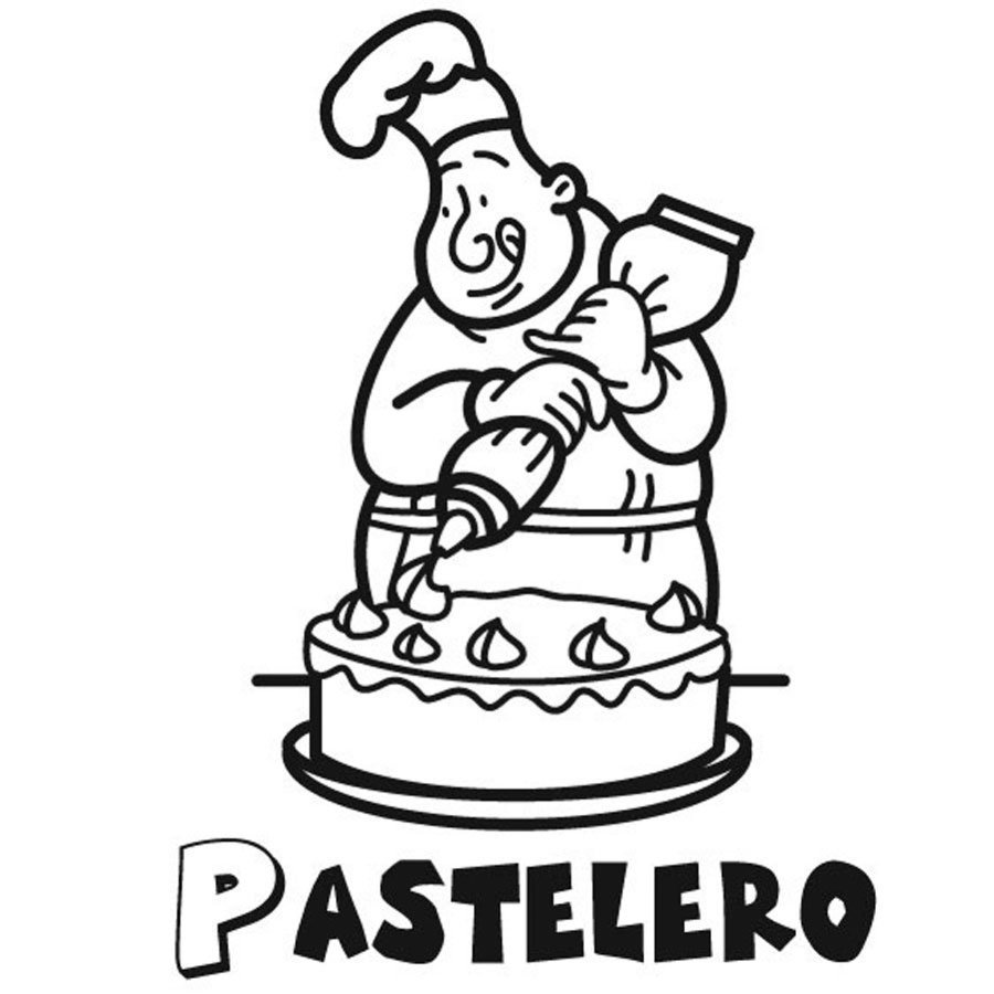 Dibujo para pintar de un pastelero