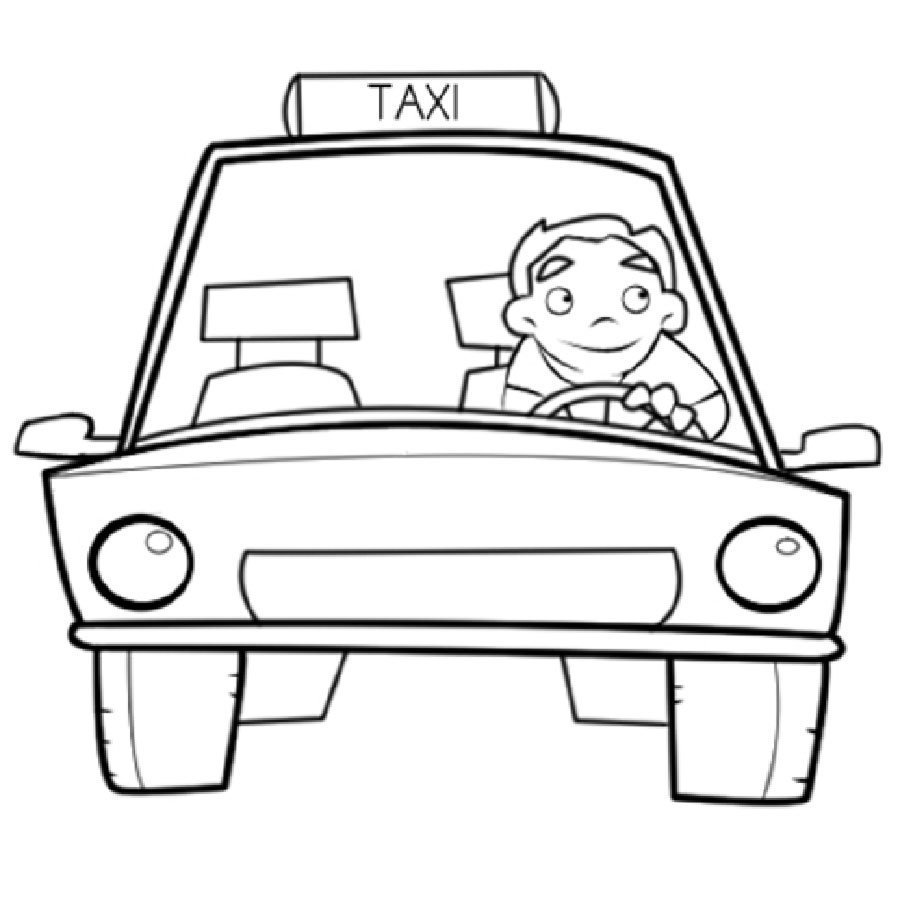 Dibujo de un taxista para colorear