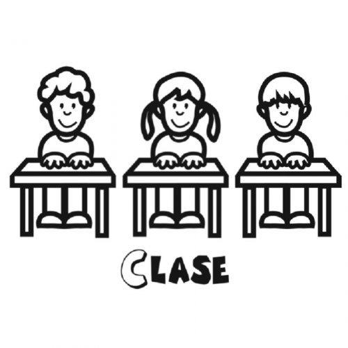 Dibujo de niños en clase para colorear