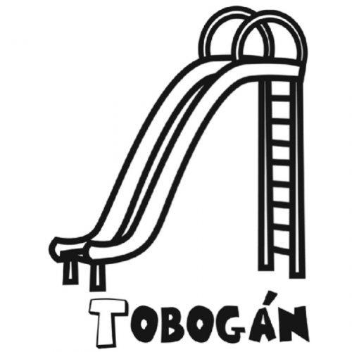 Dibujo para colorear de un tobog n for Columpios y toboganes para jardin