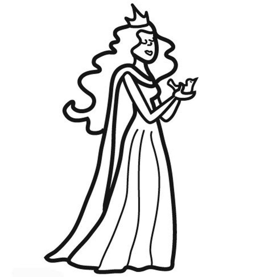 Imprimir Dibujo para colorear de una princesa  Dibujos para