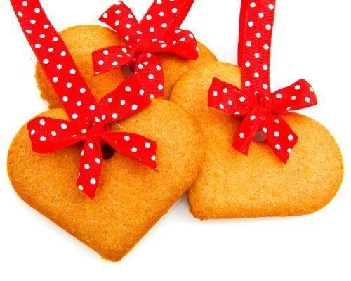 Corazones navideños de galleta