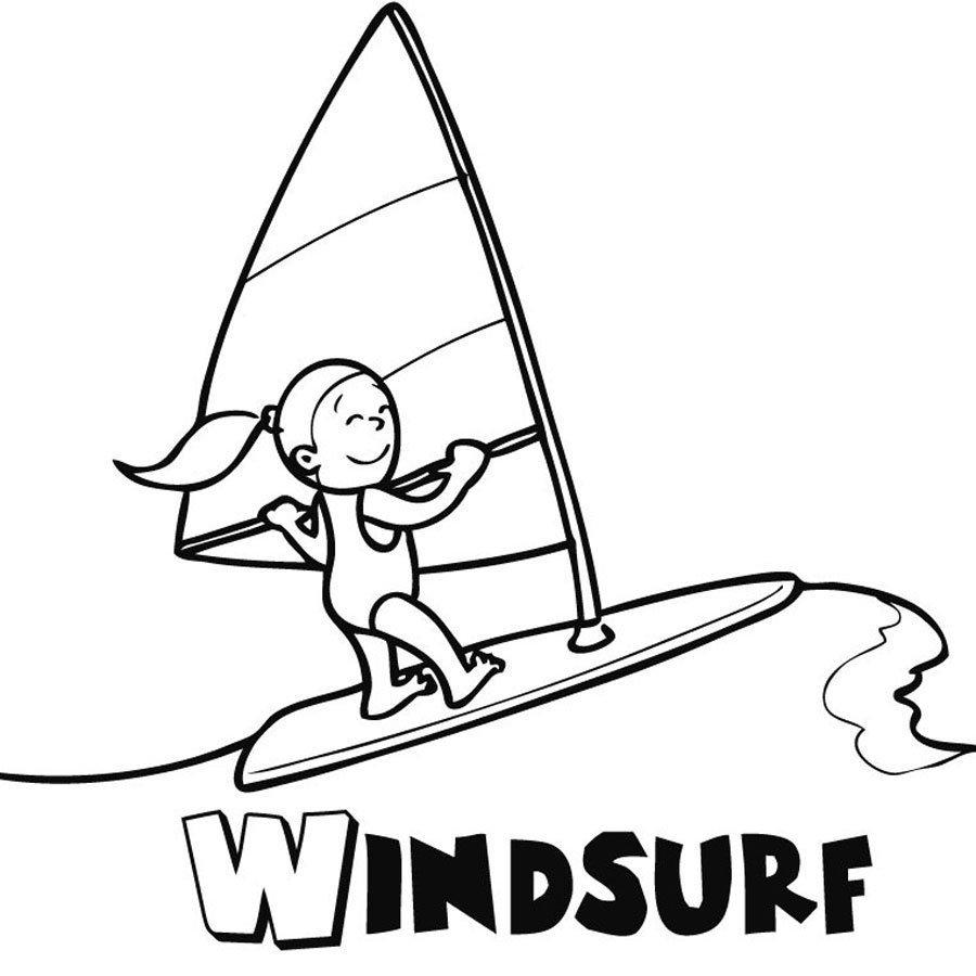 Dibujo de niña haciendo windsurf para colorear