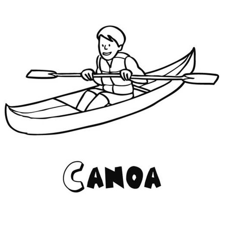 Dibujo de una canoa para imprimir y pintar