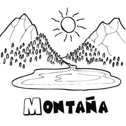 Dibujo de una montaña para imprimir y colorear