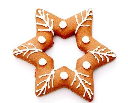 Galleta de estrella de Navidad nevada