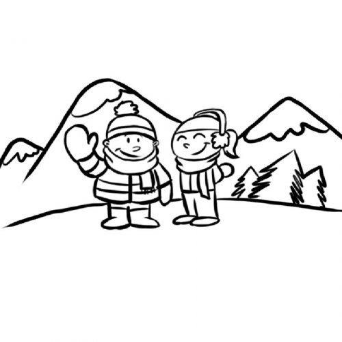 Dibujo de niños en la montaña para colorear