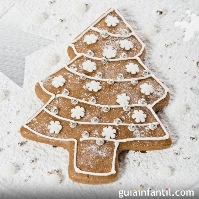 Árbol de Navidad nevado de galleta