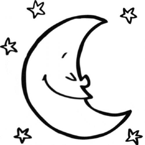 Dibujo de la luna para imprimir y pintar  Dibujos para colorear