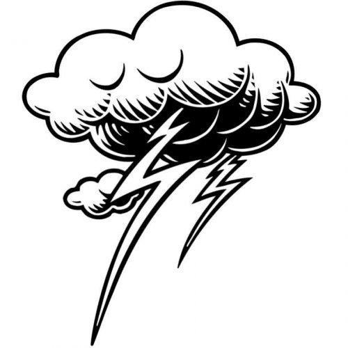 Dibujo para pintar de nube con rayos  Dibujos para colorear del