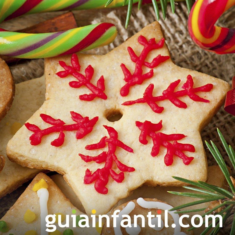 Estrella de Navidad de galleta y gominolas