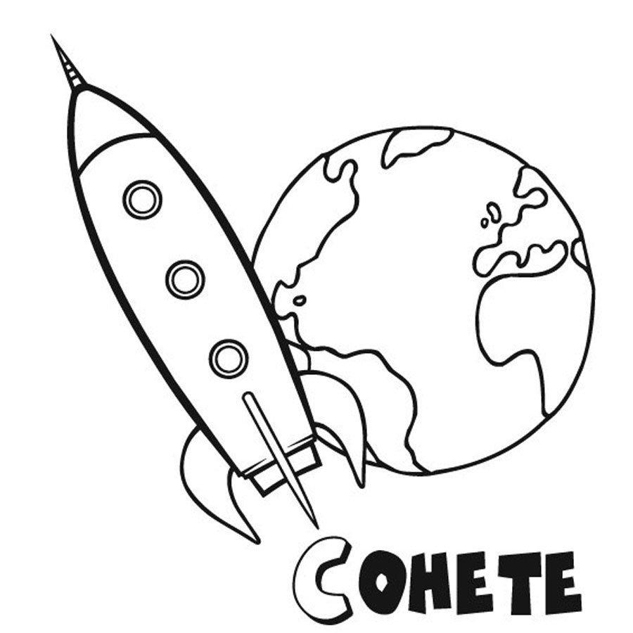 Dibujo para pintar de la Tierra y un cohete
