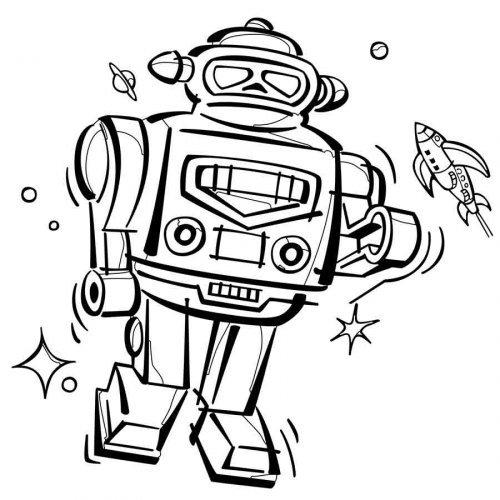 Dibujo para imprimir y colorear de un robot espacial  Dibujos