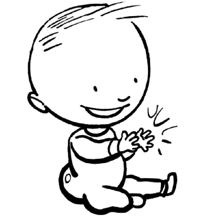 Dibujo para pintar de un bebé aplaudiendo