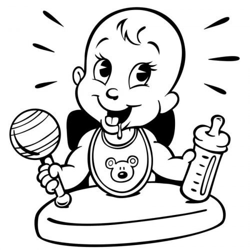 Dibujo de un bebé comiendo para imprimir y pintar