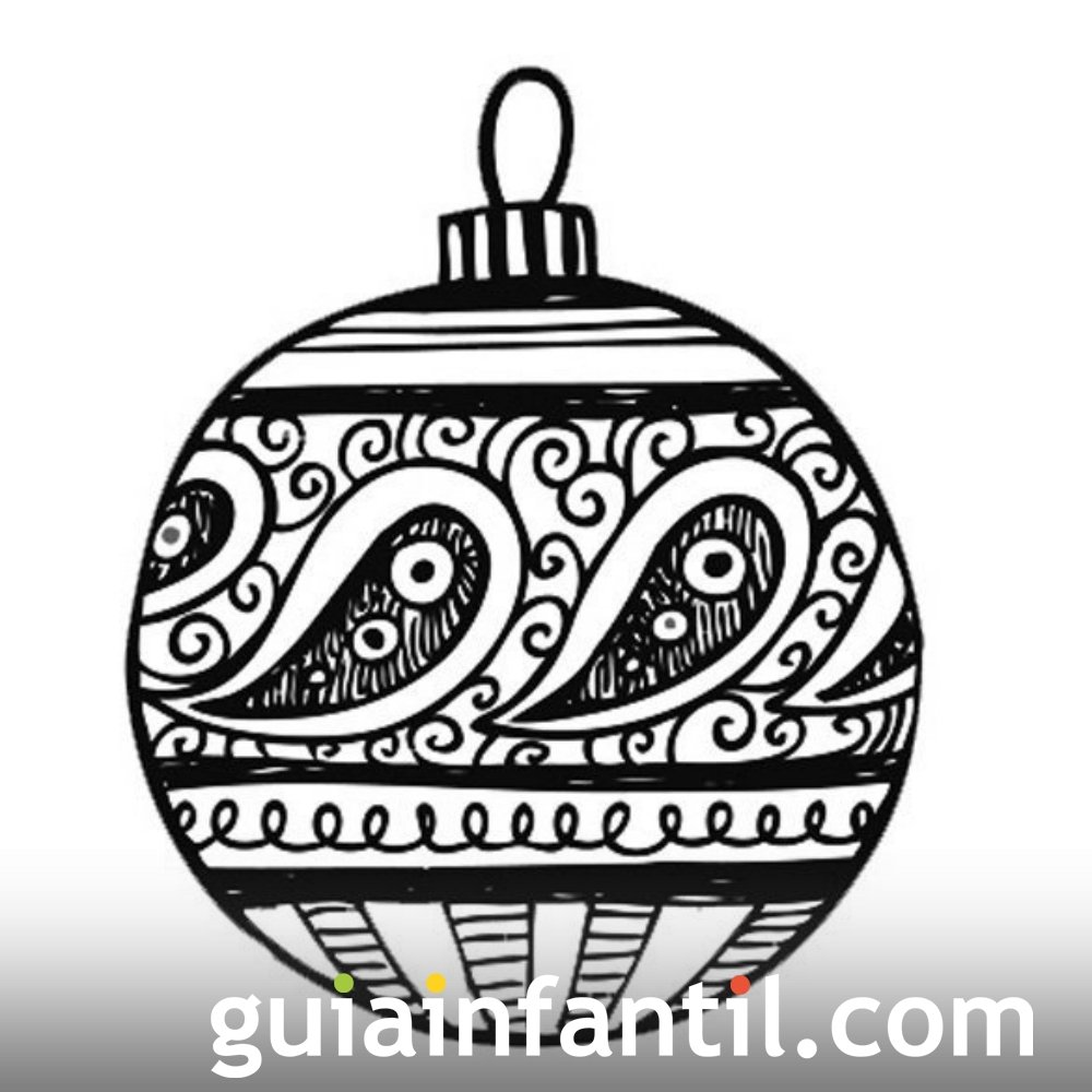 Bola de navidad para colorear. Dibujos para niños