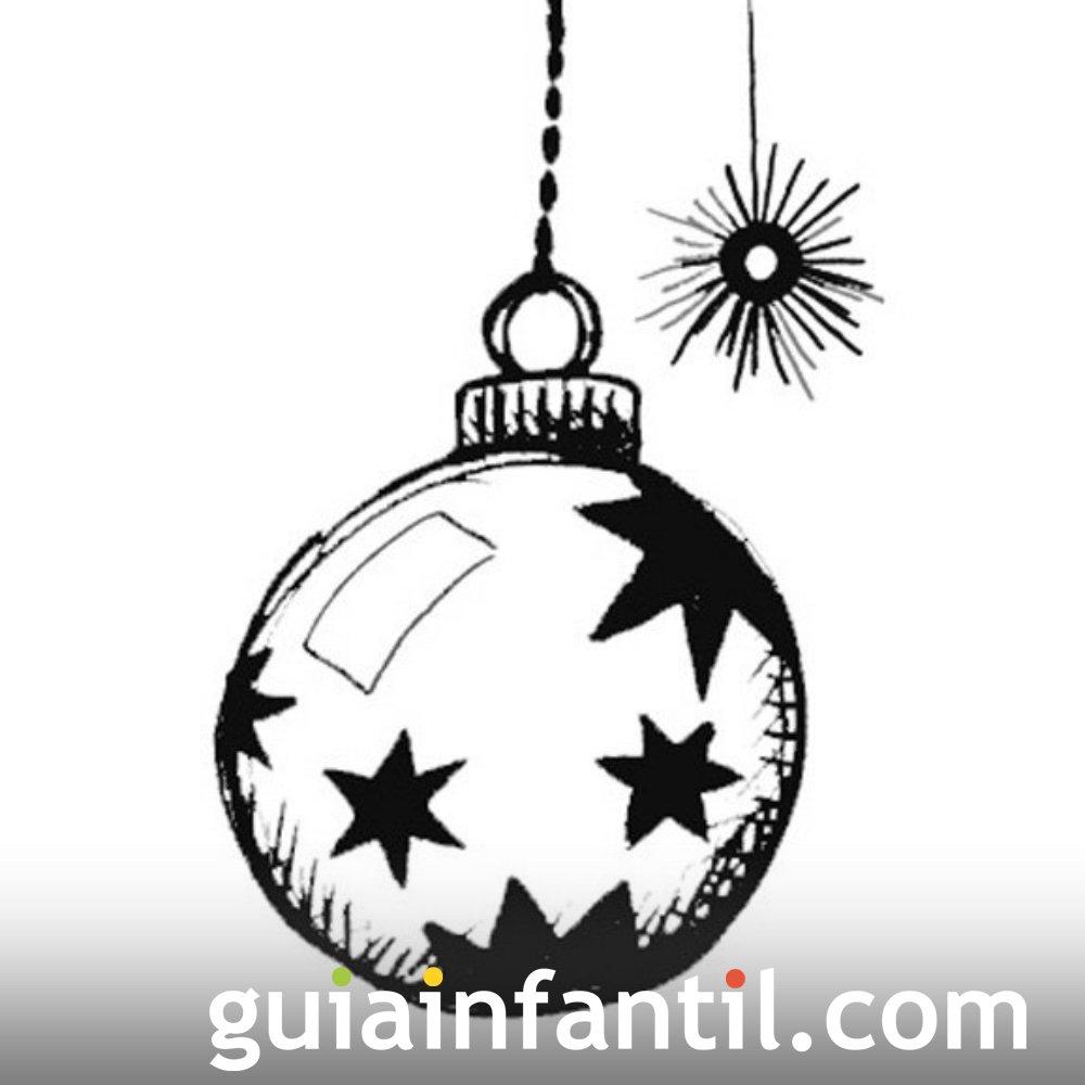 Dibujo para pintar de bola de Navidad con estrellas